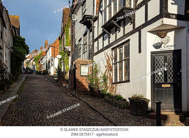 Iconic Mermaid Street in Rye, East Sussex, England
