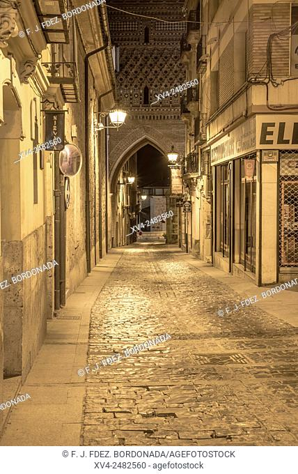 Old town street of Teruel by night, Aragon, Spain