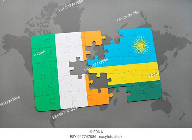 puzzle with the national flag of ireland and rwanda on a world map background. 3D illustration