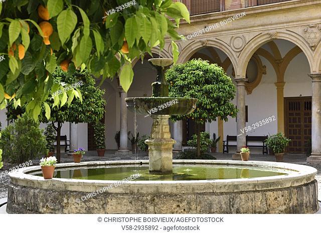 Spain, Andalusia, Granada, World Heritage Site, Abadia del Sacromonte, The patio and fountain