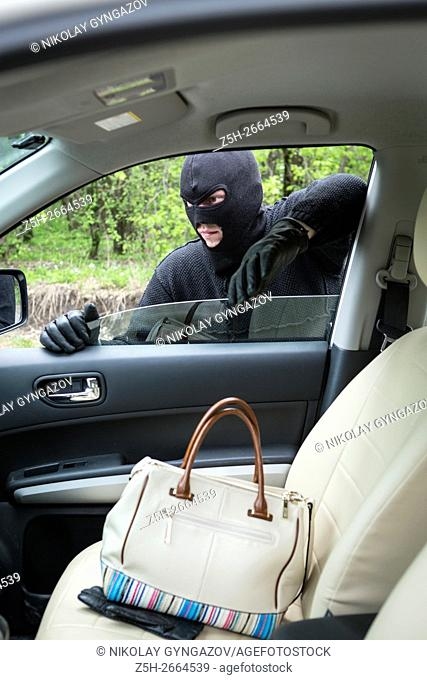 Car thief inside the car