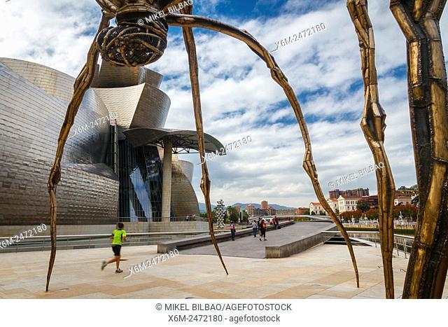 Guggenheim Museum of Art and Maman sculpture. Bilbao, Biscay, Spain, Europe