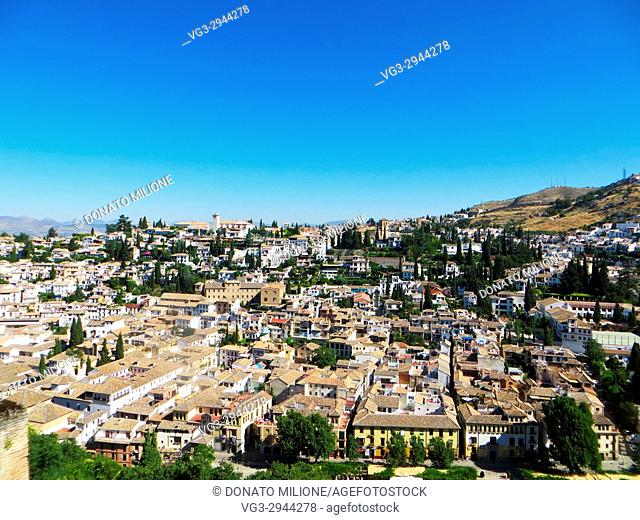 Panorama of Granada, from Alhambra, Andalucía, Spain