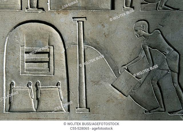 Detail of relief on the sarcophagus of Ashait (wife of Mentuhotpe II who ruled during the 11th Dynasty) at the Egyptian Museum, Cairo. Egypt