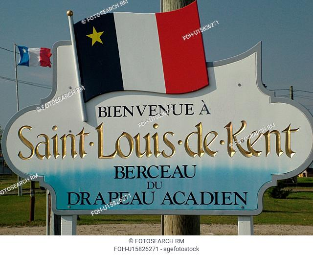 Canada, New Brunswick, Acadian Coastal Drive, Saint Louis de Kent, Acadian Village, welcome sign