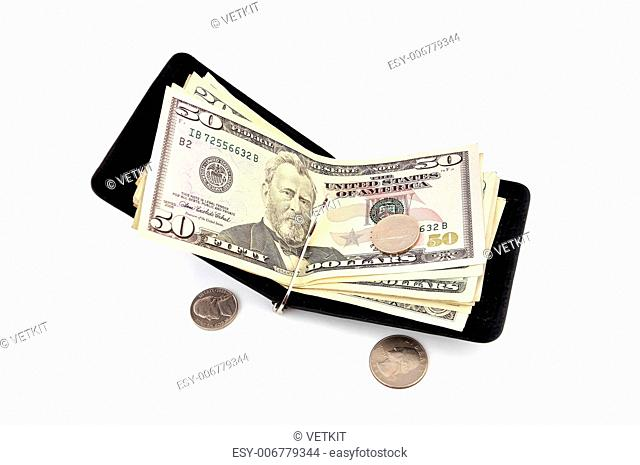 purse on the latch of dollars on a white background