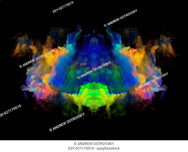 Symmetric fractal cloud pattern isolated on black background