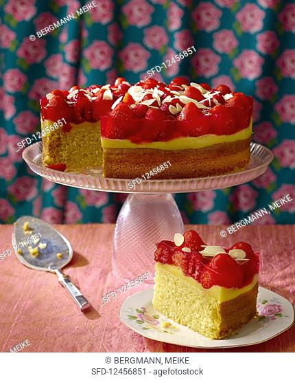 Sponge cake with vanilla pudding and fruit