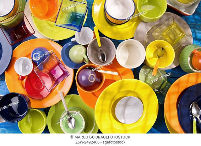 presentation of mixed accessories for a colorful kitchen