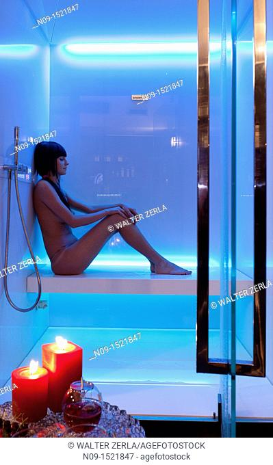 girl in the sauna at the spa