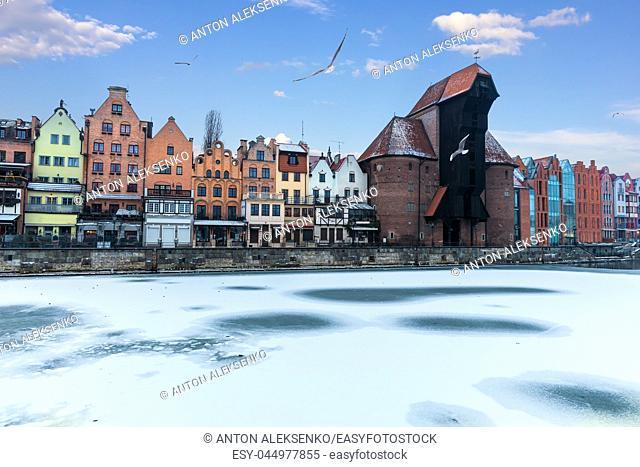 Winter Motlawa and Zuraw Port Crane in Gdansk, Poland