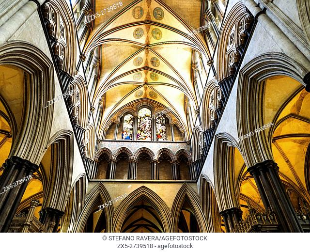 Salisbury Cathedral or Cathedral Church of the Blessed Virgin Mary - . Wiltshire, England