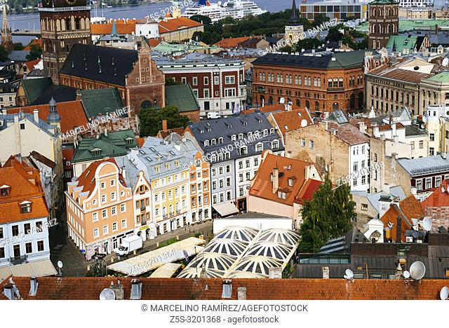 Riga old town from St. Peter's Church. Tirgonu iela area. Latvia, Baltic states, Europe