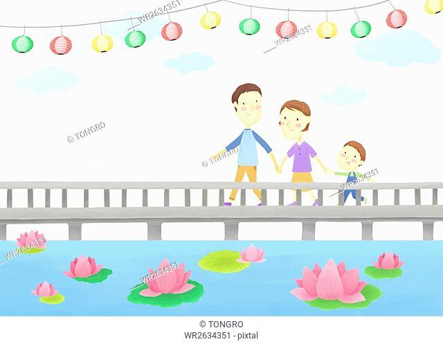 Harmonious family walking on a bridge