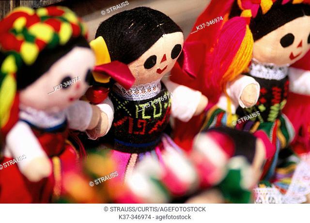 Dolls sold on sidewalk. Mexican artifacts. San Miguel de Allende. Mexico
