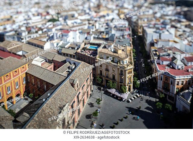 Eastward view of Seville city center from the Giralda tower, Spain. Tilted lens used for a shallower depth of field