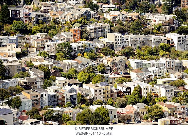 USA, California, San Francisco, view from Twin Peaks on residential neighborhood of Corona Heights