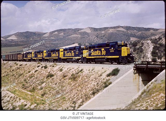 Sante Fe Freight Train, Cajon Pass near Summit, California, USA, 1964