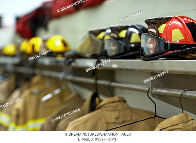 Helmets and coats in fire station