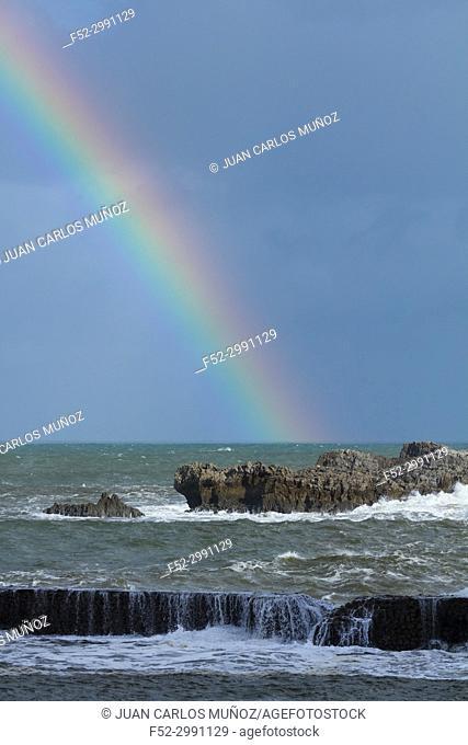 Rainbow, Cantabrian Sea, Islares, Castro Urdiales Municipality, Cantabria, Spain, Europe