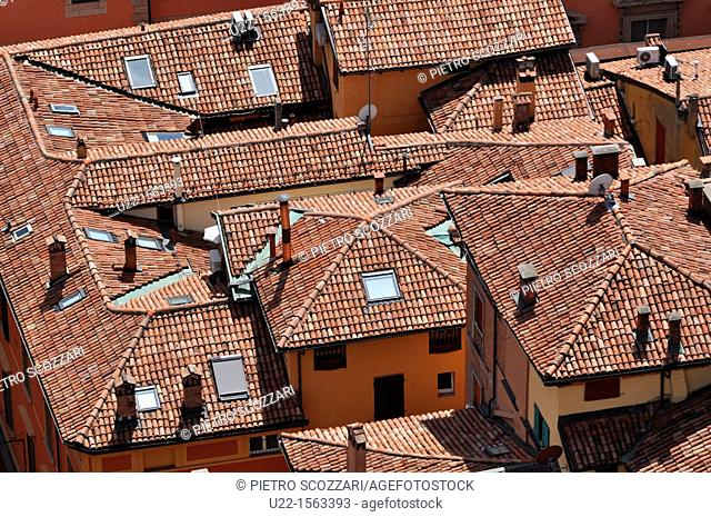 Bologna (Italy): roofs of the historical center, seen from the top of the Torre Asinelli
