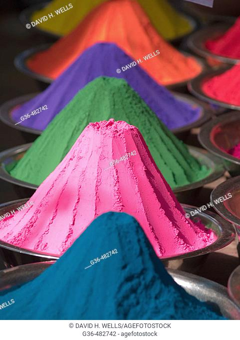 Colored powder (for Hindu ritual use) for sale in a market in Mysore, Karnataka, India