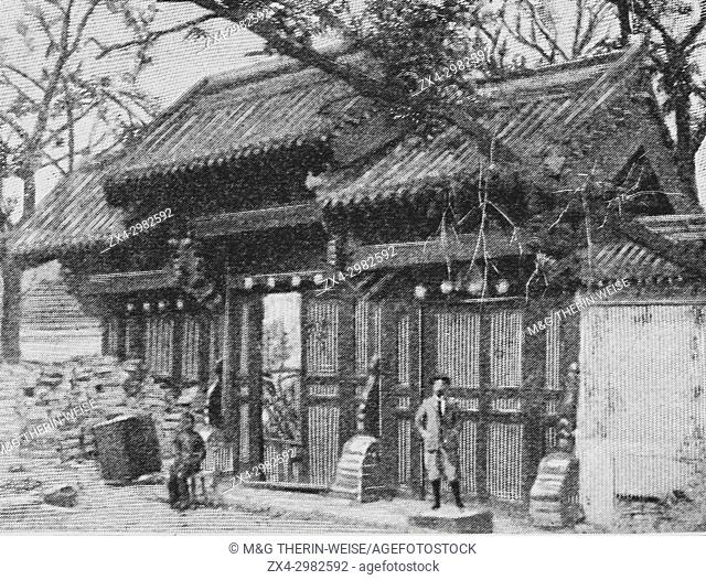 Boxer Rebellion 1900, French Legation North Gate that escaped destruction after the siege, Picture from the French weekly newspaper l'Illustration