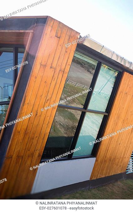 Exterior of wood and glass window, stock photo