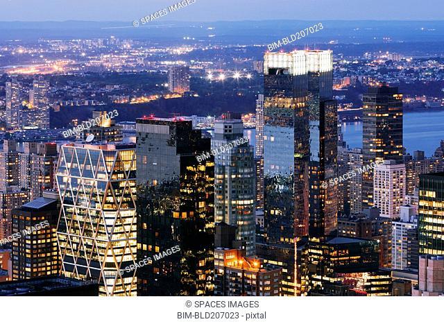 Manhattan Skyscrapers at Dusk