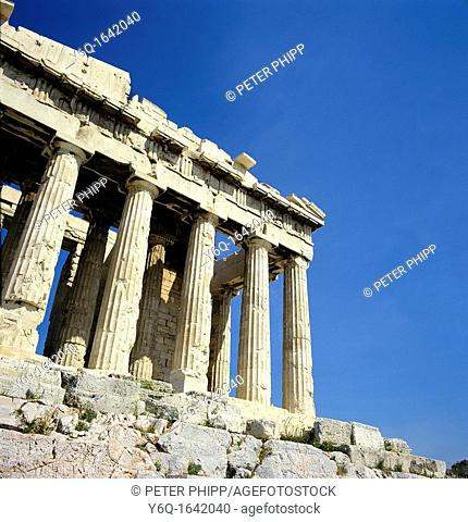Close up of front of Acropolis Athens