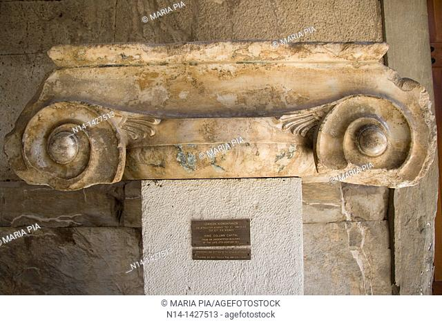 Jonic Column Capital in the Stoa of Attalos, now the museum of Ancient Agora, in Plaka district, Athens, Greece