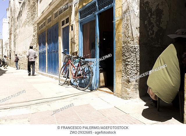 White alley in a summer day. Essaouira, Marrakech-Safi. Morocco