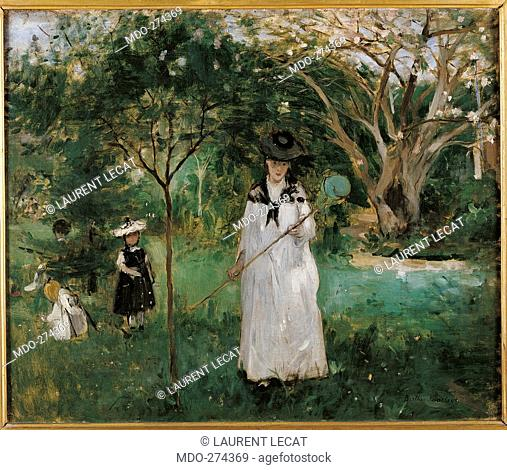 The Butterfly Hunt, by Berthe Morisot, 1874, 19th Century, oil on canvas, cm 46 x 56. France, Ile de France, Paris, Muse dOrsay. All