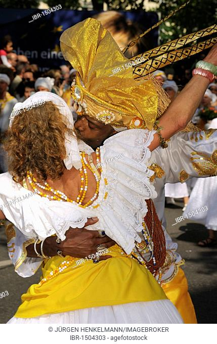 Carnival of Cultures, Brazilian Samba dance group at the annual, internationally renowned Pentecost street parade through Kreuzberg district, Berlin, Germany