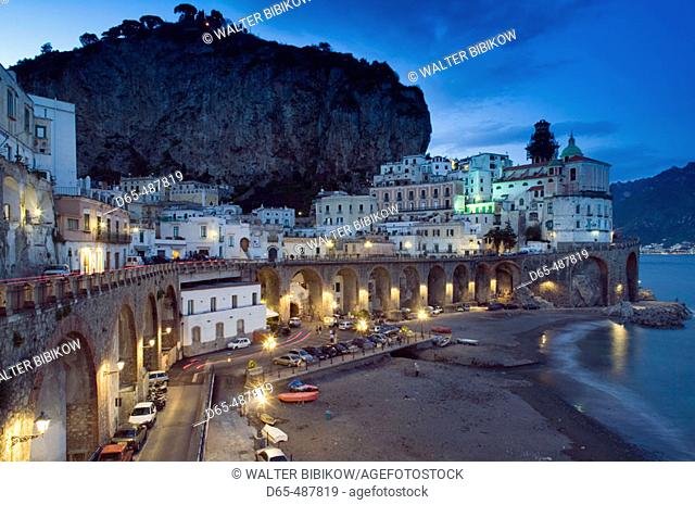 Evening Town View. Atrani. Amalfi coast. Campania. Italy