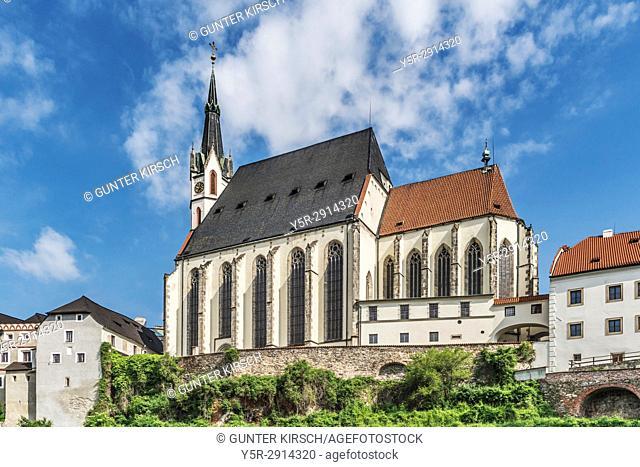 The St. Vitus Church is located in the town of Cesky Krumlov on the Vltava River in Bohemia, Jihocesky kraj, Czech Republic, Europe