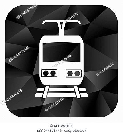 Train black color web modern brillant design square internet icon on white background