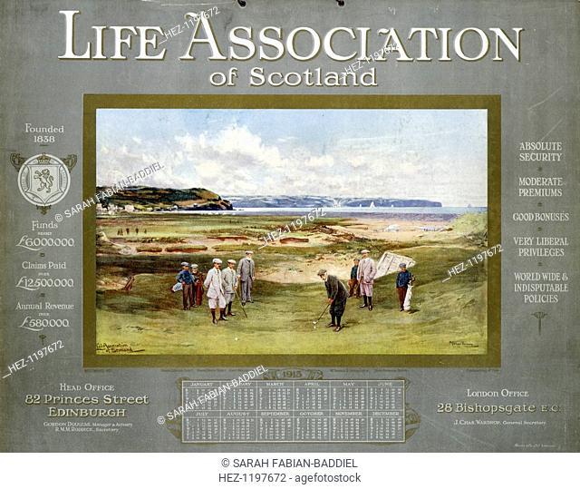 The Life Association of Scotland calendar for 1913, showinmg the Hon M Scott, Denys Scott, Captain Molesworth, Horace G Hutchinson and Captain Prideaux Brune...