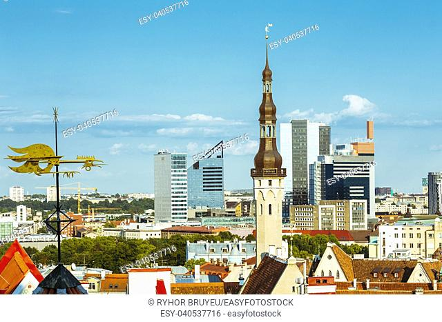Scenic View Cityscape Old City Town Tallinn In Estonia