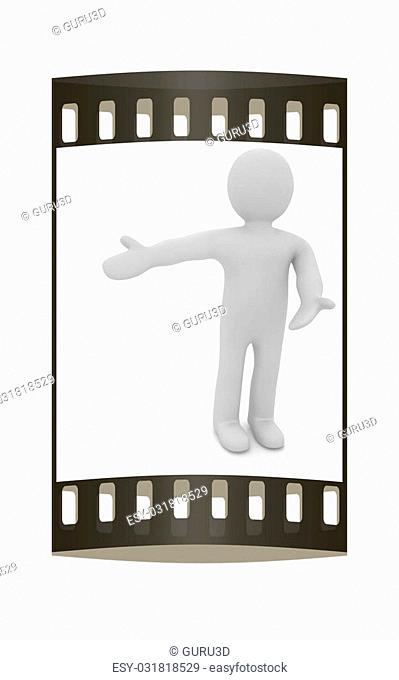 3d people - man, person presenting - pointing. The film strip