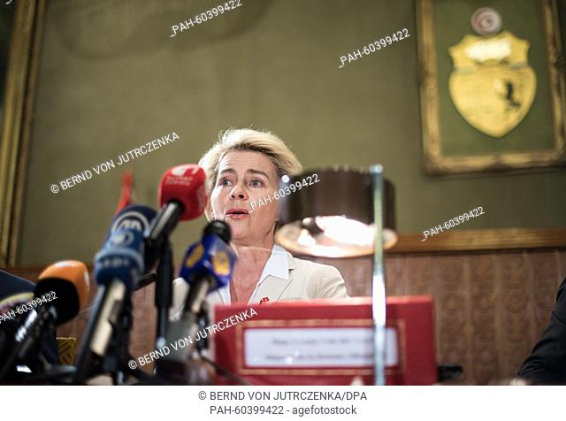 German Defence Ministers Ursula von der Leyen (CDU) speaks to members of the Committee for Armed Forces, Committee for Security and National Defence in the...