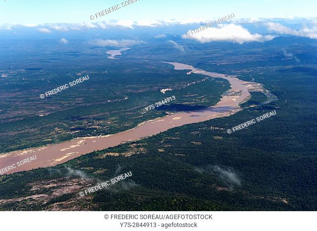 Aerial view on Pakse city and Mekong river,Laos,Southeast Asia