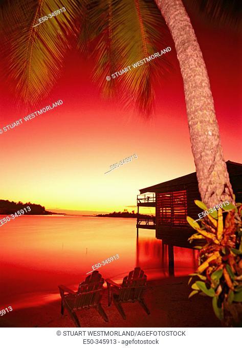 Reddish twilight. Anthony's Key Resort. Roatan. Honduras