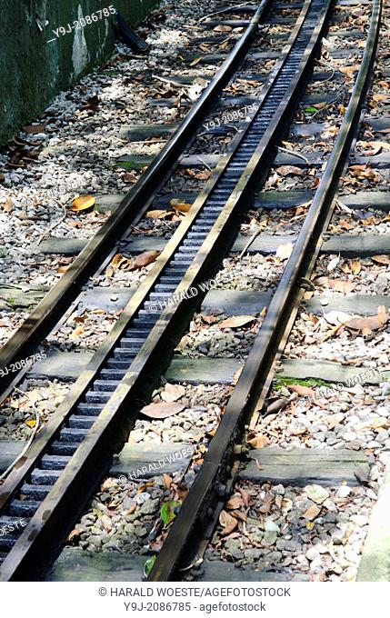 """Rio de Janeiro, Brazil: Railway track and rack belonging to the famous cog wheel train """"""""Trem do Corcovado"""""""" leading up to the mountain top of Corcovado..."