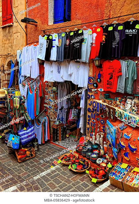 Crete, in the old town of Chania, business with clothing and souvenirs