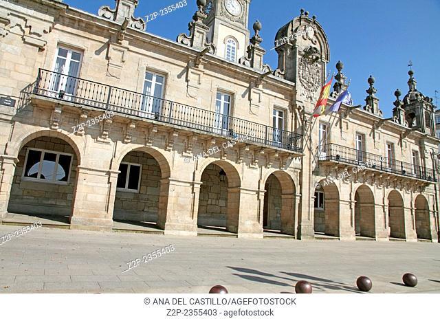 Main square Lugo World Heritage Site in Galicia Spain