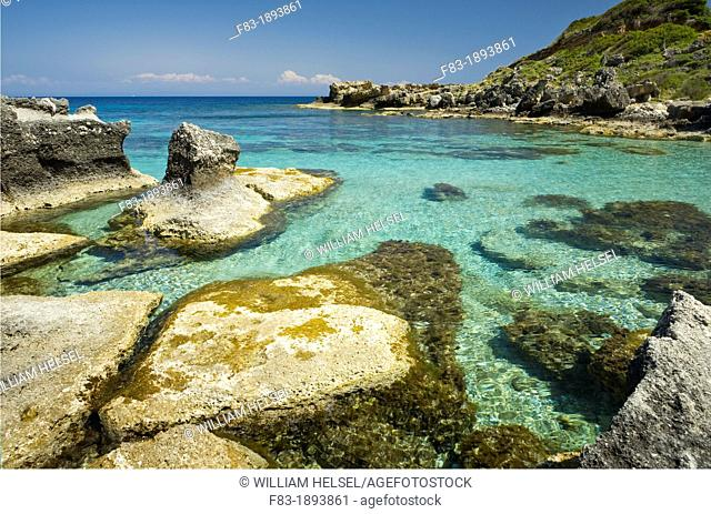 Rocky coasline near Skala, island of Kefalonia Cephalonia, Greece
