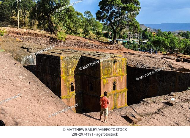 Marvelling over the church of Saint George in Lalibela, Ethiopia