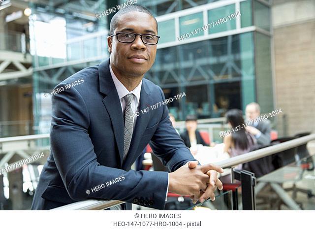 Portrait of confident businessman outside meeting