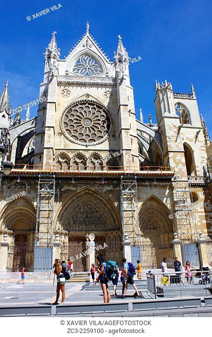 Cathedral Santa Maria de Leon, city center of Leon, Castile and Leon, Spain
